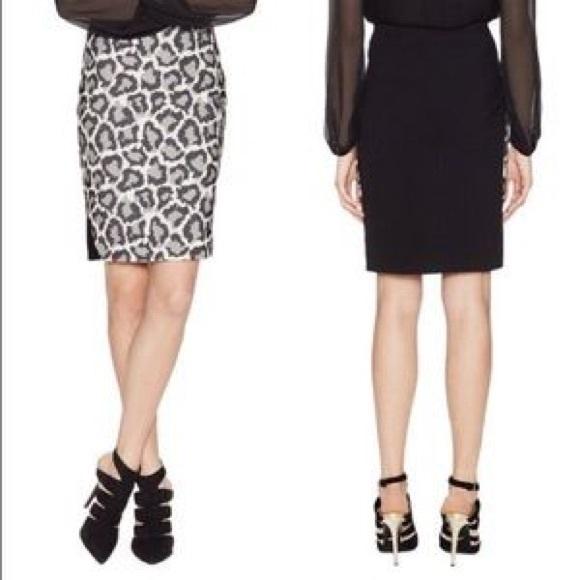 de95b5701 Diane Von Furstenberg Skirts | Dvf Emma Woven Leopard Print Black ...